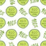 Bio grön modell Eco sömlös bakgrund 100% organisk naturlig bakgrund Hand dragen textur Lantgård sund produktdekor Royaltyfria Bilder