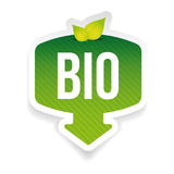 Bio green label with leaves. Vector Royalty Free Stock Image