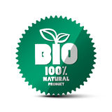 BIO Green Label. Vector 100% Natural Product Sticker. Bio Circle Tag with Leaf Symbol royalty free illustration
