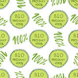 Bio green pattern. Eco seamless background. 100% Organic natural backdrop.Hand drawn texture. Farm, healthy product decor.  Royalty Free Stock Images