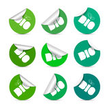 BIO Green Stickers Set Royalty Free Stock Photos