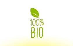 100% bio groen van het het conceptenembleem van de bladtekst het pictogramontwerp Royalty-vrije Stock Afbeelding