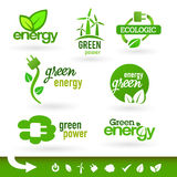 Bio - Groene Ecologie - - de reeks van het Energiepictogram Stock Afbeelding