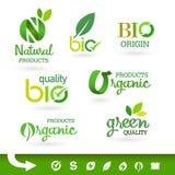 Bio - Groene Ecologie - - Natuurlijke pictogramreeks Stock Fotografie