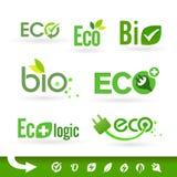 Bio - Groene Ecologie - - Natuurlijke pictogramreeks Stock Foto's