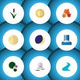 Bio grupo do ícone liso de objetos solares, da cascata, os lunares e o outro do vetor Igualmente inclui o pássaro, cascata, eleme ilustração stock