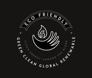 Bio hand eco friendly white on black. Is a illustration for any use royalty free illustration