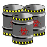Bio Hazard Barrels. Barrels with bio hazard symbol Stock Image