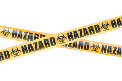 Bio Hazard Barrier Tapes, 3D rendering. Biohazard Barrier Tapes, 3D rendering on white background Royalty Free Stock Photo