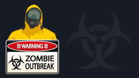 Bio hazard man 06. Illustration of man in yellow biohazard protective siut with zombie sign on dark blue background Stock Images