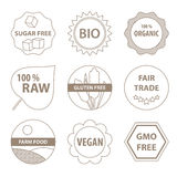 Bio and healthy food icons. Vector bio and healthy food labels in a simple line style royalty free illustration