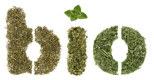 Bio herbs. Bio word made of green herbs and spices Stock Photo