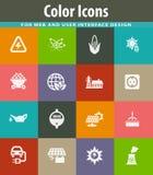 BIO- icone di industria del combustibile messe Fotografie Stock