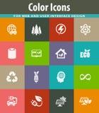 BIO- icone di industria del combustibile messe Immagini Stock