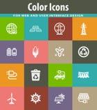 BIO- icone di industria del combustibile messe Fotografia Stock
