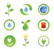 Bio- icone e simboli di ecologia Fotografia Stock Libera da Diritti