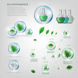 Bio infographics. The illustration of bio infographics with green leaves in transparent bubbles. Ecology set Stock Images