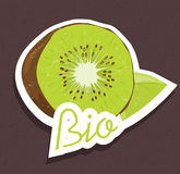 Bio kiwi tag Stock Image