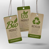 Bio Label. Set of photorealistic labels for bio, eco and recycled products Royalty Free Stock Photo