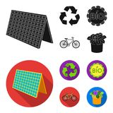 Bio label, eco bike, solar panel, recycling sign.Bio and ecology set collection icons in black, flat style vector symbol. Stock illustration Royalty Free Stock Images