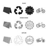 Bio label, eco bike, solar panel, recycling sign.Bio and ecology set collection icons in black,monochrome,outline style. Vector symbol stock illustration Royalty Free Stock Photo