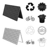 Bio label, eco bike, solar panel, recycling sign.Bio and ecology set collection icons in black,outline style vector. Symbol stock illustration Royalty Free Stock Photo