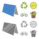 Bio label, eco bike, solar panel, recycling sign.Bio and ecology set collection icons in cartoon,monochrome style vector. Symbol stock illustration Royalty Free Stock Photography