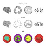 Bio label, eco bike, solar panel, recycling sign.Bio and ecology set collection icons in flat,outline,monochrome style. Vector symbol stock illustration Royalty Free Stock Image