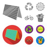 Bio label, eco bike, solar panel, recycling sign.Bio and ecology set collection icons in monochrome,flat style vector. Symbol stock illustration Royalty Free Stock Photography