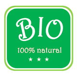 Bio label. Green bio label 100% natural with three stars in white background Royalty Free Stock Photos