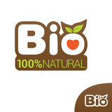 Bio label for organic product. Bio label or badge with leaves for organic, natural, bio and eco product isolated on white background. Creative bio  logo design Vector Illustration
