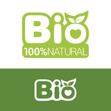 Bio label for organic product. Bio label or badge with leaves for organic, natural, bio and eco product isolated on white background. Creative bio logo design Stock Illustration