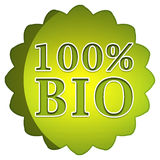100% bio label. 100 percent bio badge on white background stock illustration
