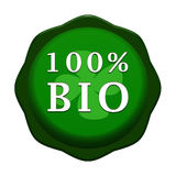 100% bio label. 100 percent bio badge on white background with flower stock illustration
