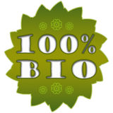 100% bio label. 100 percent bio badge on white background with flowers stock illustration