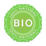 Bio label/100 pour cent de naturel Images stock