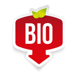 Bio label red sticker. Bio label red with arrow vector Royalty Free Stock Photography