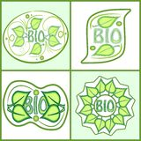 Bio label set with green leaf motif and inscription bio. Diffferent shapes in light green design, vector eps10, sticker useful for. Food or cosmetic products of Stock Photos