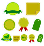 Bio labels. Set of five bio labels. The blank ones are very useful for your own design and text. Eps file available Stock Image