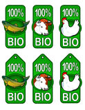 Bio Labels / Fish, Beef, Chicken. Collection of 3 Lables and Etiquettes for Bio Products from Fish, Beef and Chicken / Hen Royalty Free Stock Photo