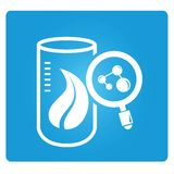 Bio laboratory, genetic modify lab. Symbol in blue button Stock Photos