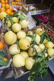 Bio lemons. Lemons for sale in a greengrocer`s in sorrento, the famous: limone di sorrento royalty free stock photography