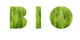 BIO lettering. Eco concept. Background of vivid green grass of meadow royalty free stock image