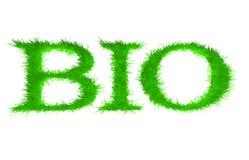 Bio. Lettres avec l'herbe là-dessus. Image libre de droits
