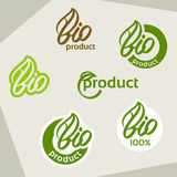 Bio logo, eco label, natural product sign, organic icon set Stock Image