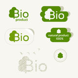 Bio logo, eco label, natural product sign, organic icon set Stock Photography