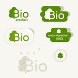 Bio logo, ecoetikett, naturprodukttecken, organisk symbolsuppsättning Arkivbild