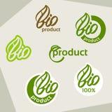 Bio logo, ecoetikett, naturprodukttecken, organisk symbolsuppsättning Fotografering för Bildbyråer