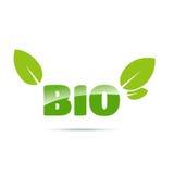 Bio logo vert avec des feuilles Photographie stock libre de droits
