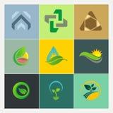 Bio- logos di ecologia della natura dell'ambiente astratto della foglia Immagini Stock Libere da Diritti